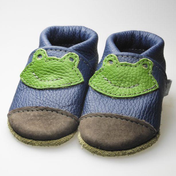Blau braune nubuk Kappe grüner Frosch